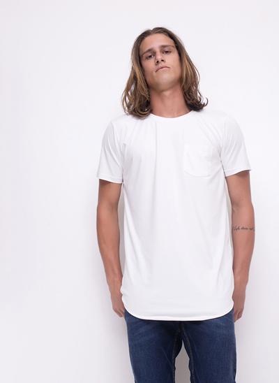 Camiseta Alongada com Bolso