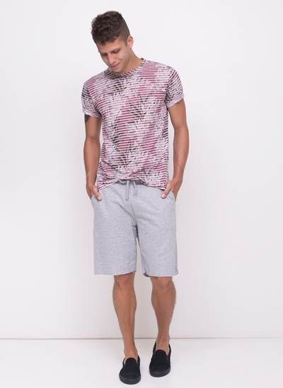 Camiseta Floral com Listras