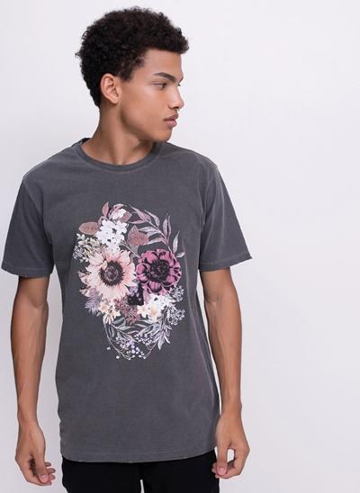 Camiseta Estonada Caveira Floral