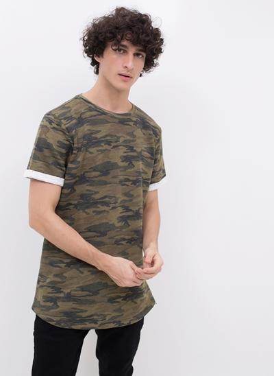 Camiseta Militar com Manga Dobrada