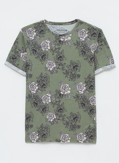 Camiseta Floral com Manga Dobrada