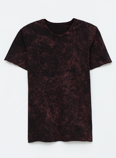 Camiseta Marmorizada com Barra Cortada