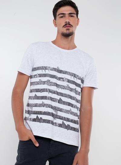 Camiseta com Listras Florais