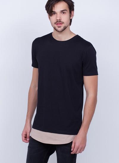 Camiseta Alongada com Sobreposição