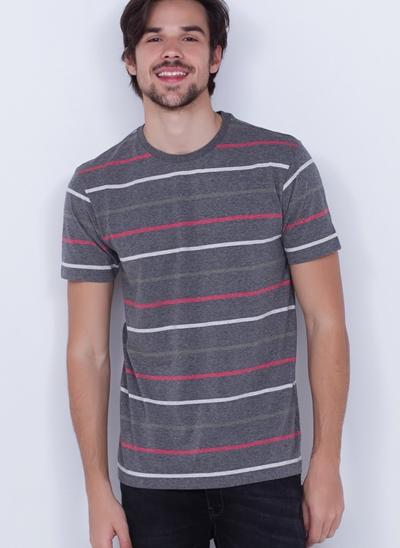Camiseta Manga Curta com Listras