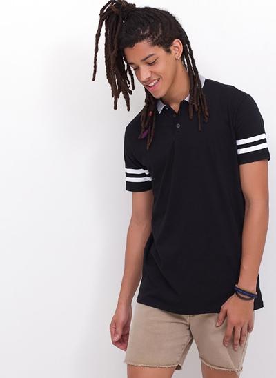 Camisa Polo com Listras