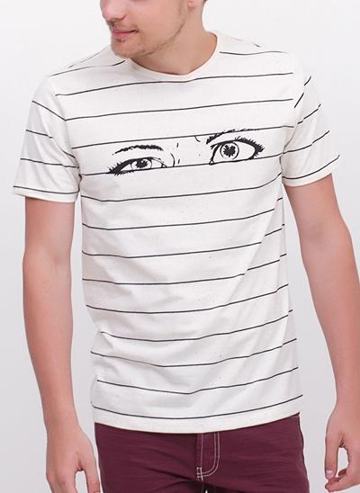 Camiseta Eyes com Listras em Botonê