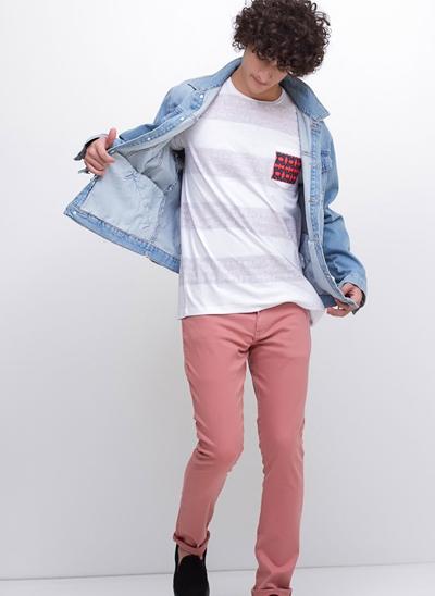 Camiseta Avesso com Bolso Estampado