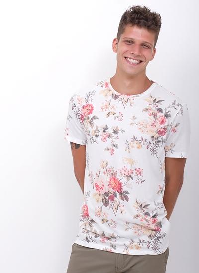 Camiseta Floral Malha Tricot