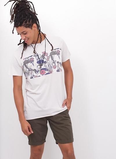 Camiseta Alongada Recortes Floral