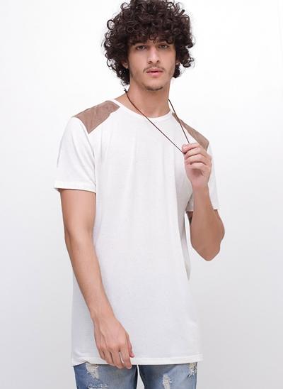 Camiseta Alongada Linho Ombros em Suede