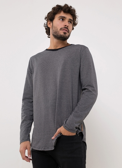 Camiseta Alongada Listrada