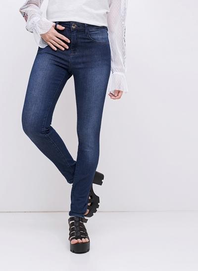 Calça Cintura Média em Jeans