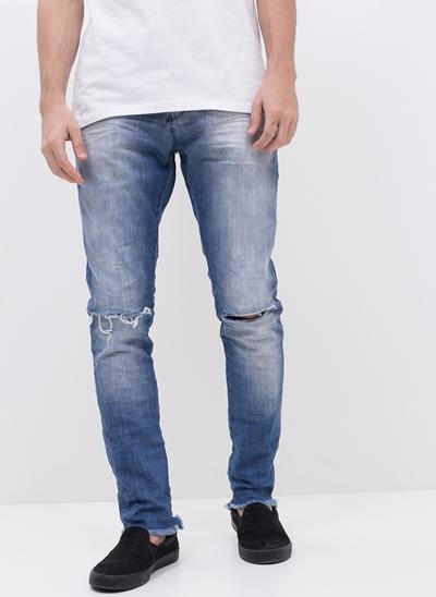 Calça Skinny em Jeans com Rasgos