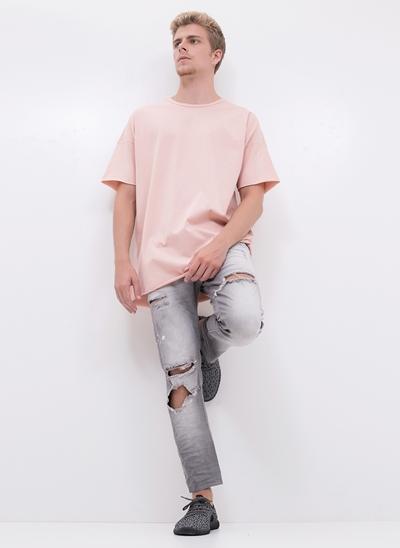 Calça Skinny Destroyed em Jeans