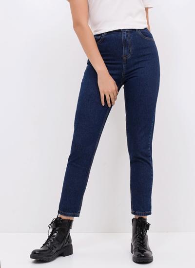Calça Mom Cintura Alta em Jeans