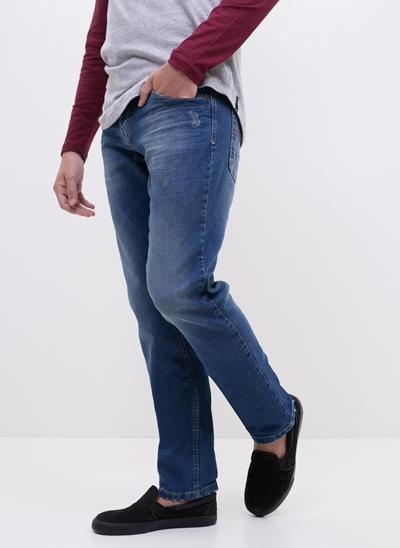 Calça Slim em Jeans com Puídos