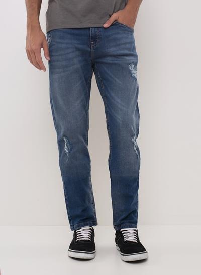 Calça Slim em Jeans Recycle