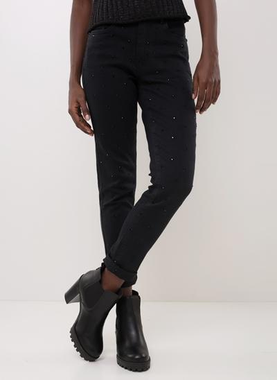 Calça Skinny em Jeans com Strass