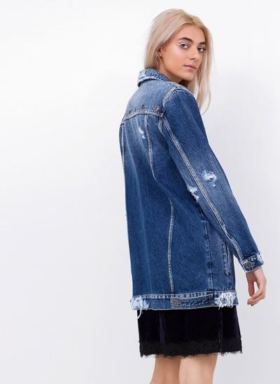 Jaqueta Over em Jeans com Ilhós