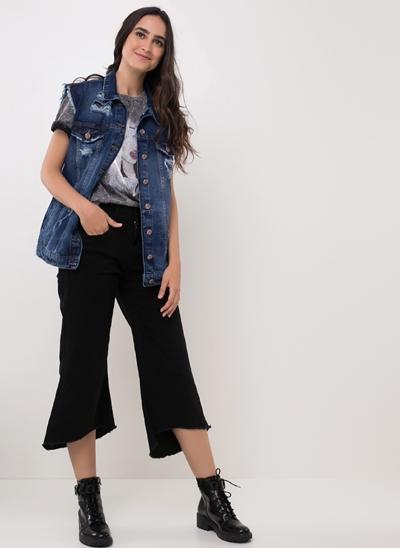 Colete Jeans ECO Alongado com Rasgos