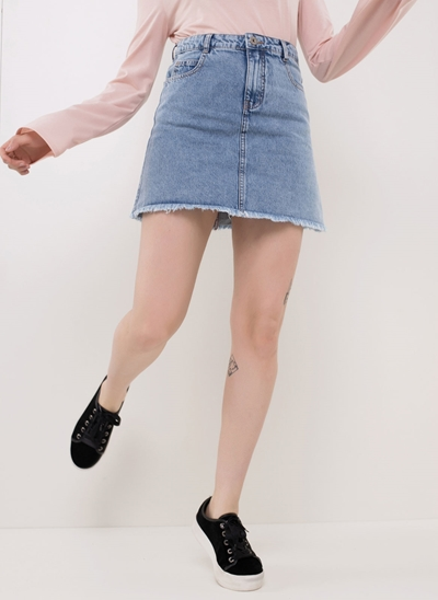 Saia Cintura Alta em Jeans